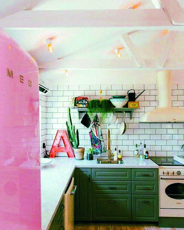 You can incorporate millennial pink in kitchens too.