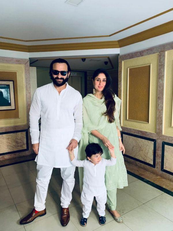 Saif Ali Khan, Kareena Kapoor Khan and Taimur Ali Khan celebrate Diwali.