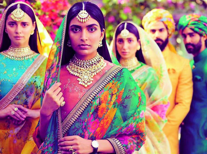 Dusky-complexioned models donning Sabyasachi's collection