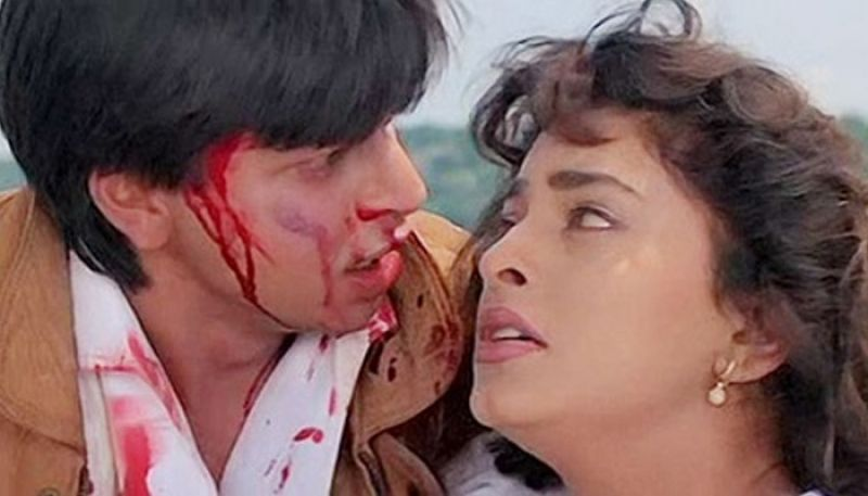Shah Rukh Khan and Juhi Chawla in the still from Darr