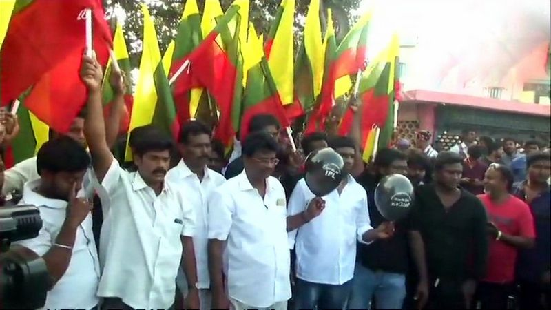 Tamizhaga Vazhvurimai Katchi (TVK) workers protest outside MA Chidambaram Stadium ahead of CSK vs KKR IPL match, carrying balloons stating, 'We do not want IPL, we want Cauvery Management Board. (Photo: ANI | Twitter)
