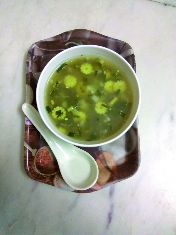 Garlic greens soup