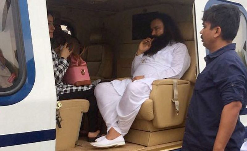 Honeypreet was seen accompanying Ram Rahim Singh in the chopper in which he was flown to Rohtak. (Photo: PTI)