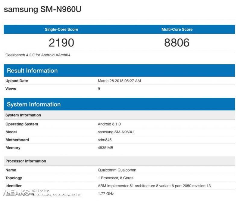 Galaxy Note 9 benchmark