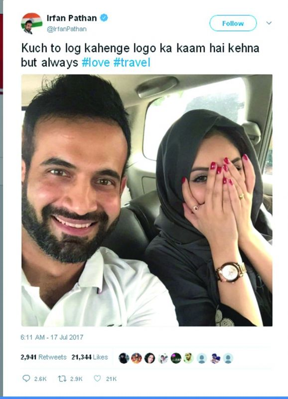 Irfan Khan got trolled and called a bad Muslim for posting a picture with his wife where her forearms were visible and nails painted.