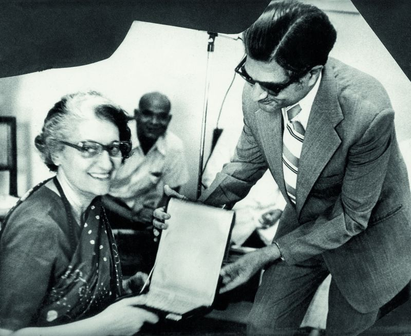 The then PM Indira Gandhi launches Dr Ahmed's book