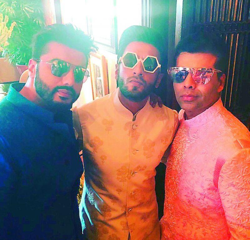 Arjun Kapoor, Ranveer Singh and Karan Johar