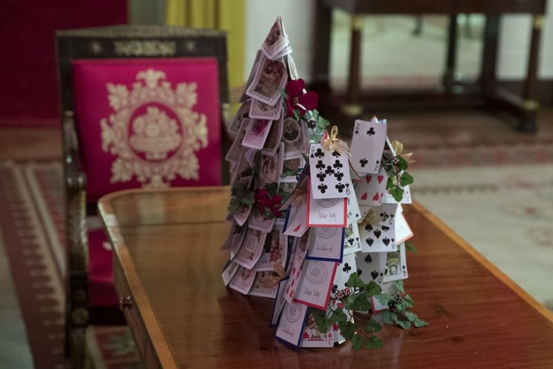 The Red Room is decorated with games, including a tree made of White House playing cards during the 2019 Christmas preview at the White House in Washington. (Photo: AP)