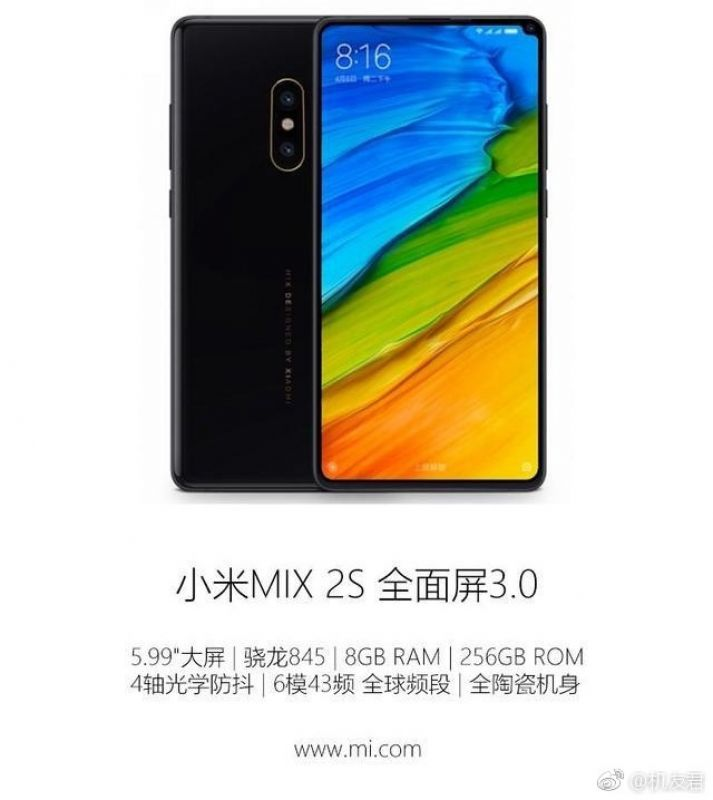 Xiaomi Mi Mix 2s Specifications Leaked Ahead of MWC 2018