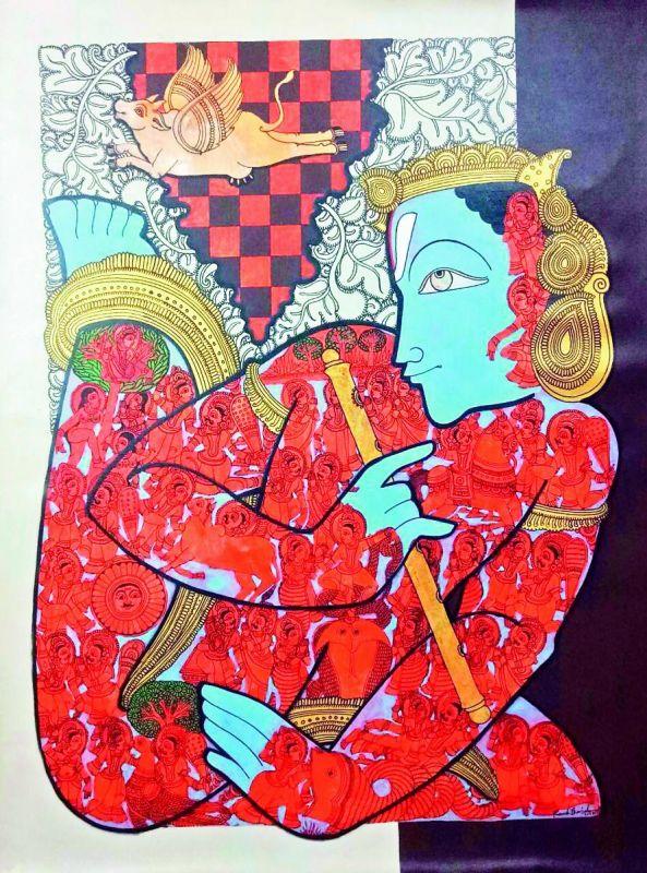 Ramesh Gorjala brings forth the image of Krishna in a unique, rhythmic form