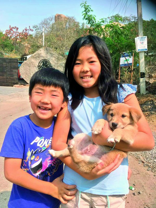 indie-love: Rocky as a pup with Yugo and Chise, Soichiro's children