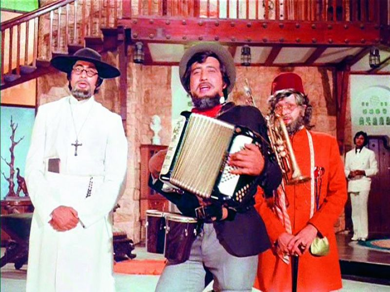 Vinod Khanna in a still from Amar Akbar Anthony