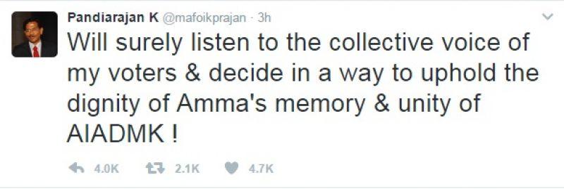 Pandiarajan tweet
