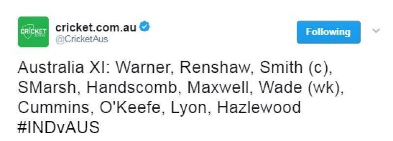 India vs Australia, Ranchi Test, Australia Team