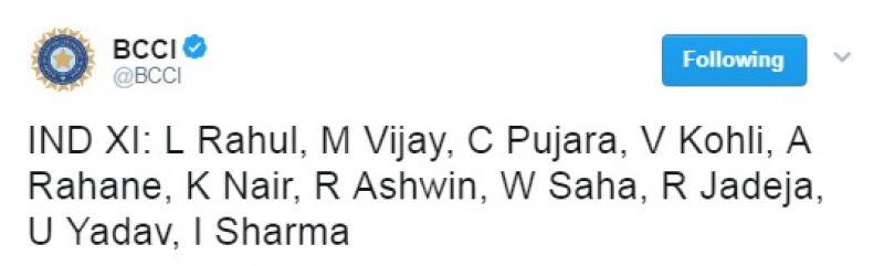 India vs Australia, Ranchi Test, India Team