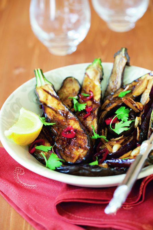 ROASTED AUBERGINES WITH CARAWAY AND LIME
