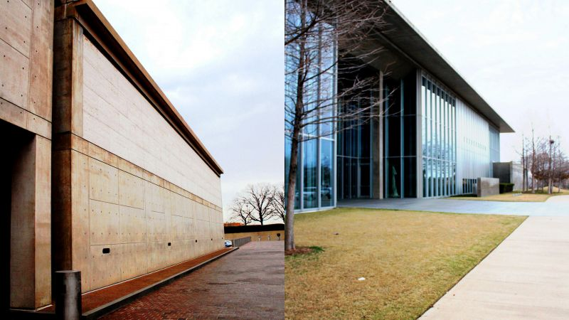 The unrelenting concrete walls of the Kimbell museum burnished by age are a complete contrast to the crisp and metallic, more recent walls of the Modern Art museum at Forth Worth. (Photo: Amit Khanna)
