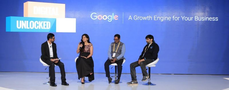 Google CEO, Sundar Pichai in a chat session with some of the successful SMBs at the Digital Unlocked event in Delhi. The SMBs shared with him inspiring stories of their journey on the internet so far.