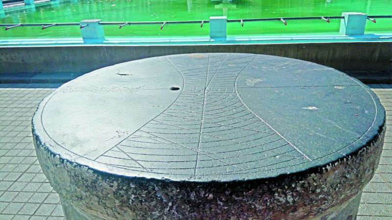 The dhoop ghadi (sun clock) its top with markings.