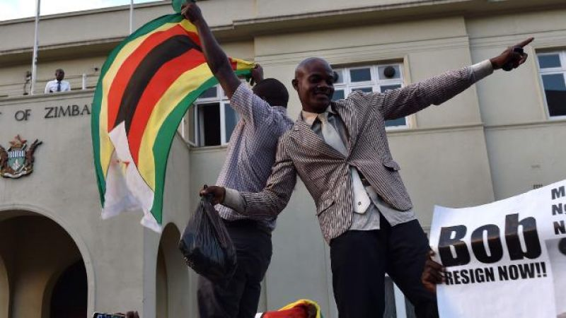 People danced in the streets of Harare and car horns blared at the news that the era of Mugabe - who had led Zimbabwe since independence in 1980 - was finally over. (Photo: AFP)