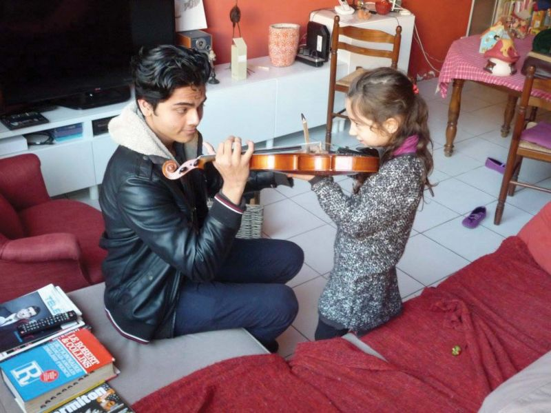 Sagar at one of his violin classes.