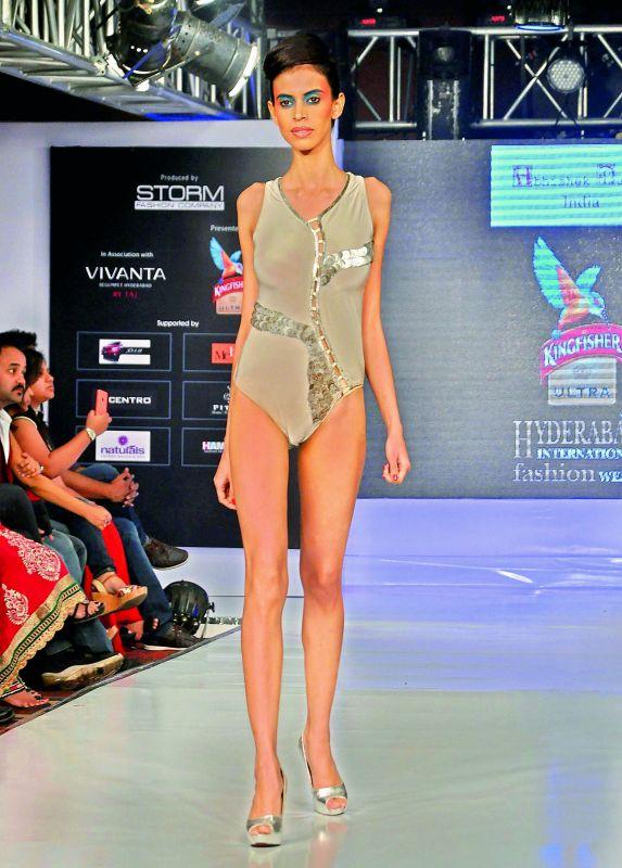 A model walking the ramp for designer Abhishek Dutta