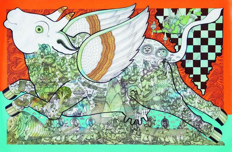 Ramesh Gorjala's artwork showcased stories of gods and goddesses in a stylish way