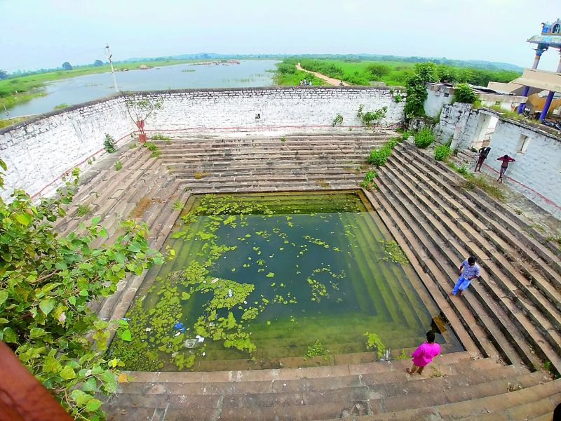 A view of the sweet water lake or a koneru known as Mahanandi which irrigates 45 acres of the temple land.