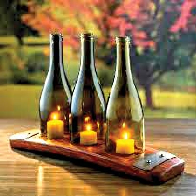 Bottle those candles on a wooden slab.