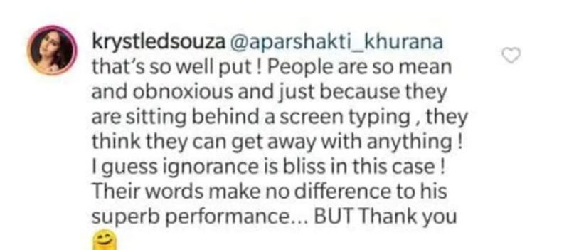 Krystal D'souza's comment. (Photo: Instagram)