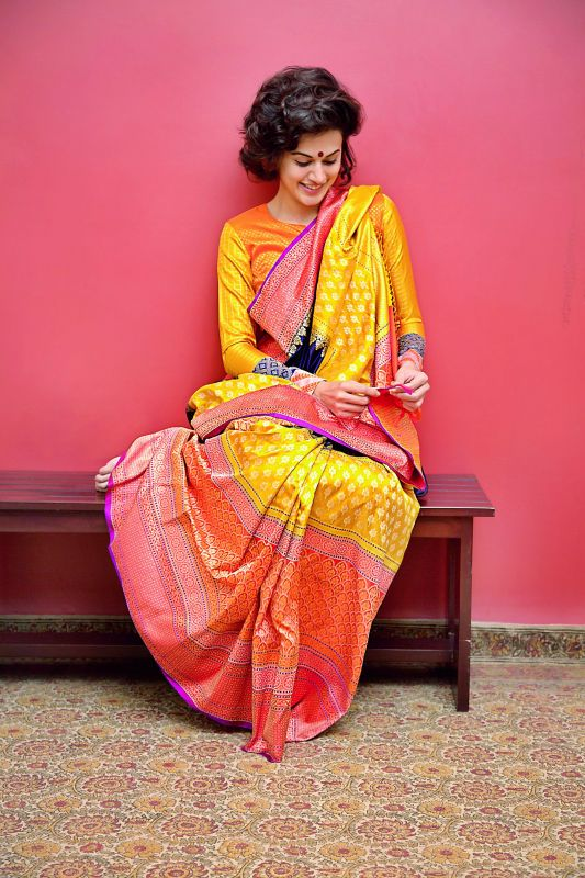 Drapes of elegance: Actress Taapsee Pannu in a sari designed by Gaurang Shah.