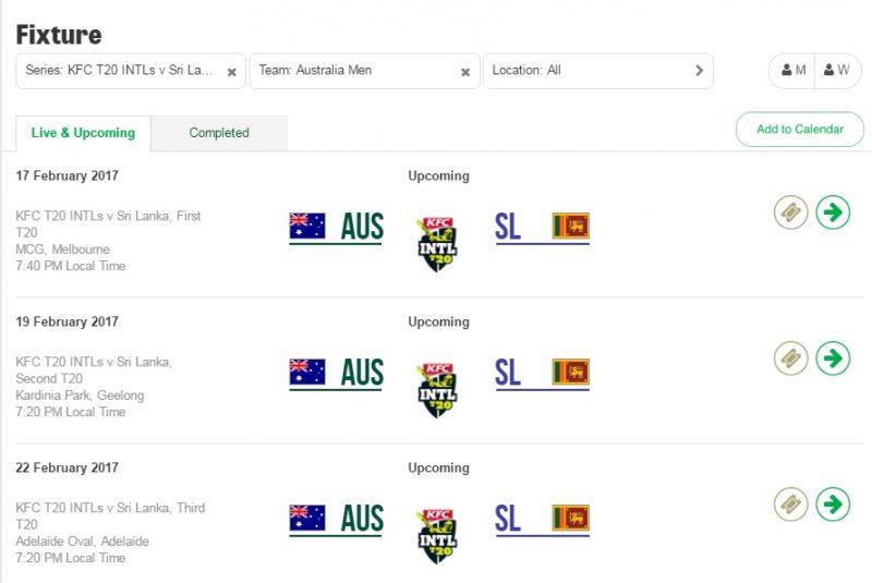Australia take on Sri Lanka in the third and final T20 in Adelaide on February 22, 2017, a day before the commencement of India-Australia Test series in Pune. (Photo: Screengrab from Cricket Australia website)