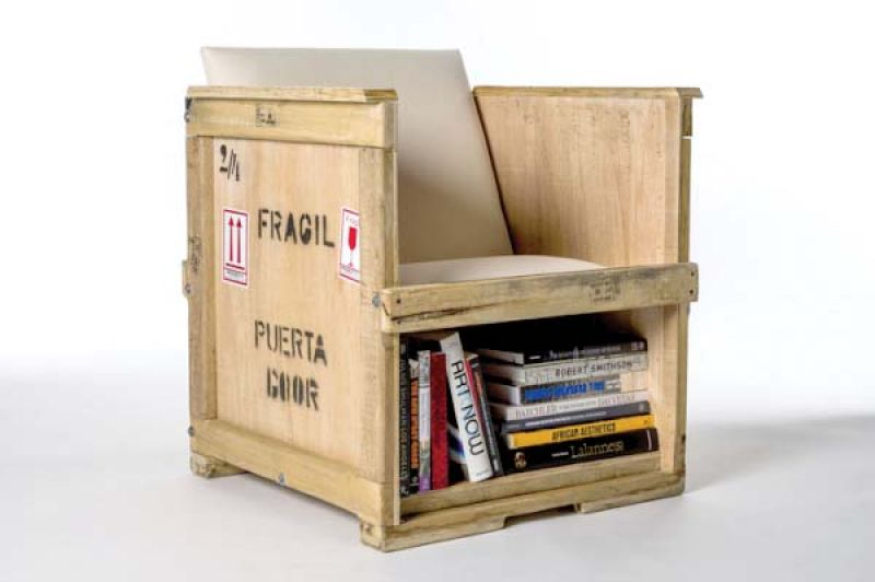 A recycled book shelf!