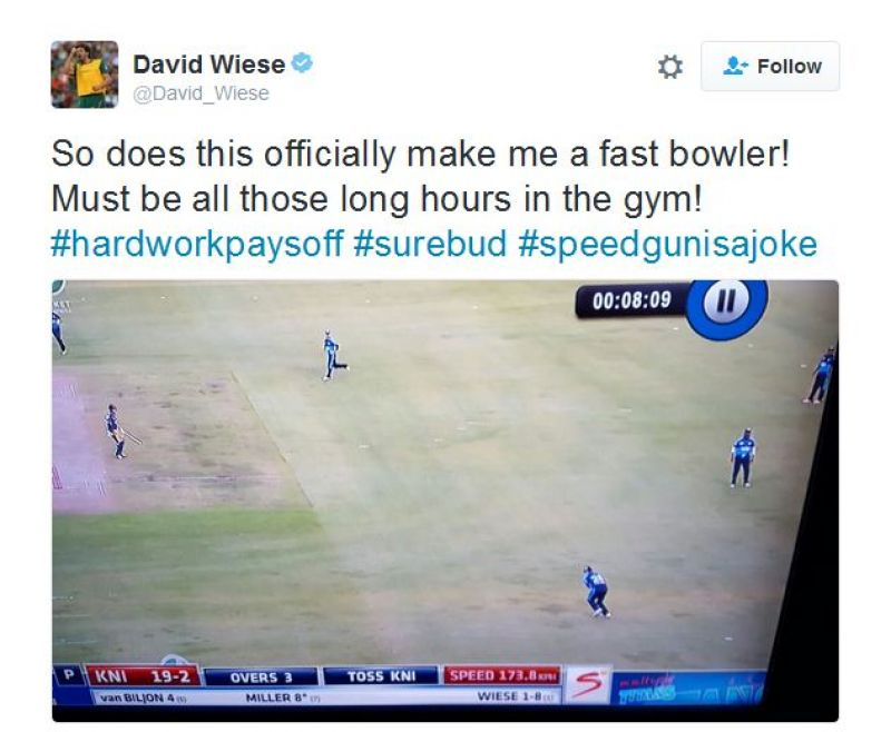 david wiese fastest ball