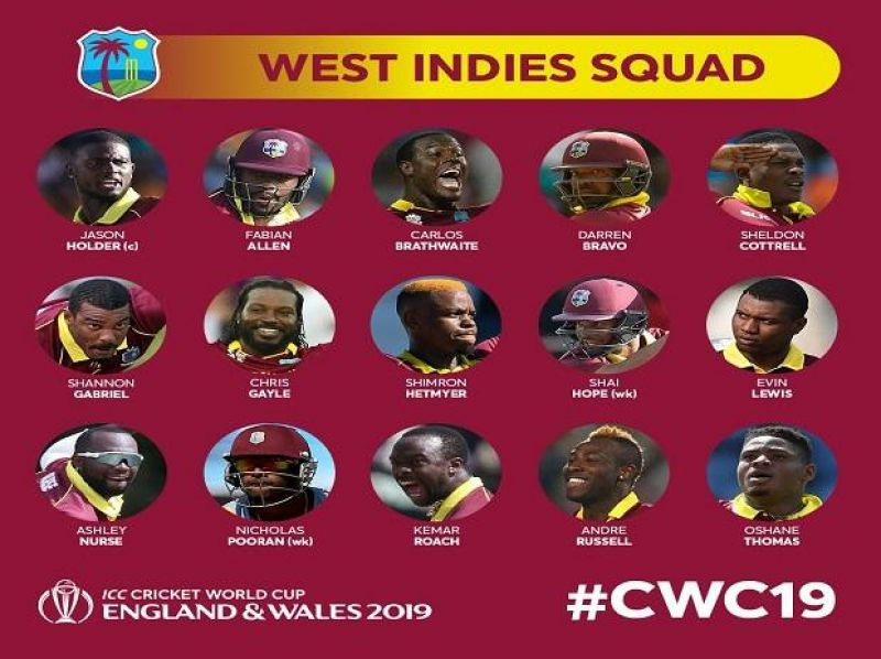 (Photo: west indies cricket/ cwc19 twitter)