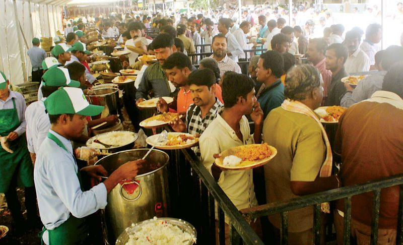Food being served after the inauguration of Indira Canteen in Bengaluru on Wednesday