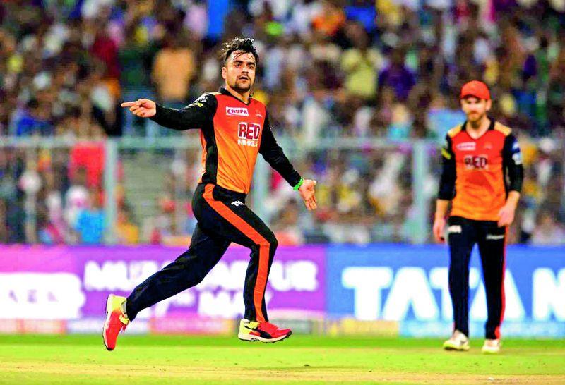 Rashid Khan of Sunrisers Hyderabad celebrates after taking the wicket of Robin Uthappa.  (Photo:BCCI)