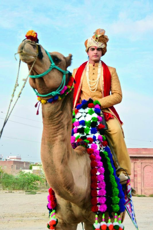 In this photo, perched on the camel, the groom, Kartik is inching closer to his bride's house for the grand wedding ceremony. You cannot miss the smile on the groom's face!