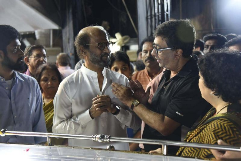 Actor Rajinikanth and his wife Latha consoling the grieving Y. Gee Mahendra. (Photo: DC)
