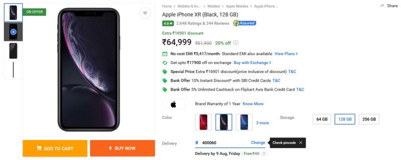 iPhone XR 128GB Flipkart