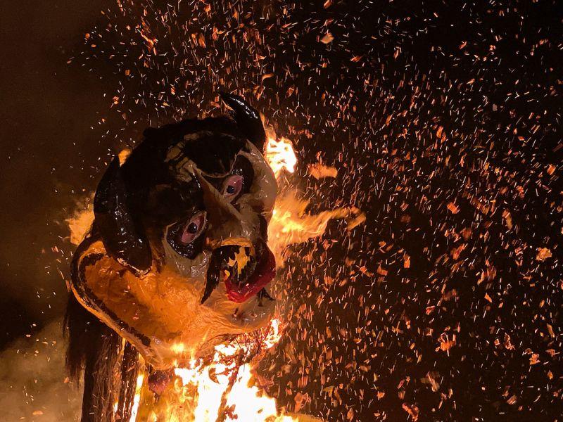 One of the demons being burnt, captured using night mode. (Photo: Rohit Vora- @rohit_apf)