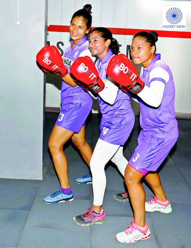 team bonding: The players indulged in off-beat activities like kick-boxing in preparation for the Asia Cup.
