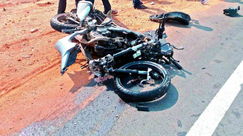 The impact from hurtling into the car left the motorbike involved in the accident a mangled wreck.