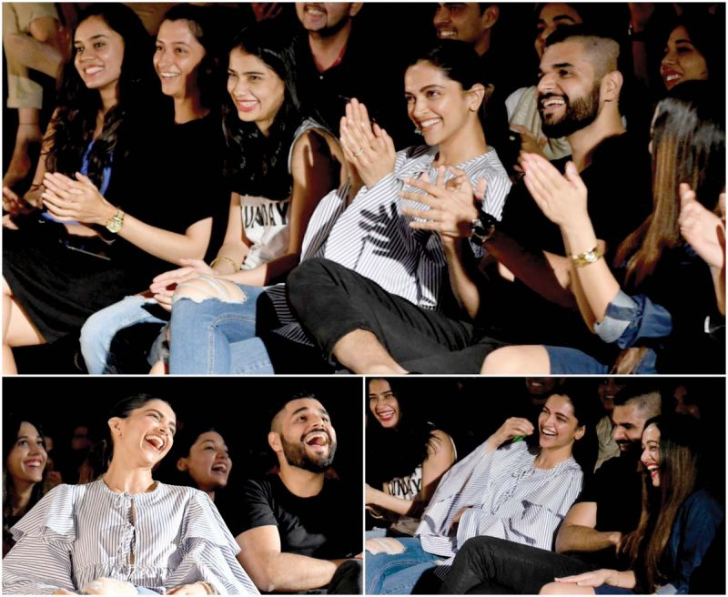 Deepika hangs out with her friends at a stand-up Improv show in the city