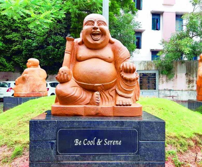 One of the laughing Buddha statue at Osmania Medical College done by sculptor Taduri Venkateshwara Rao.