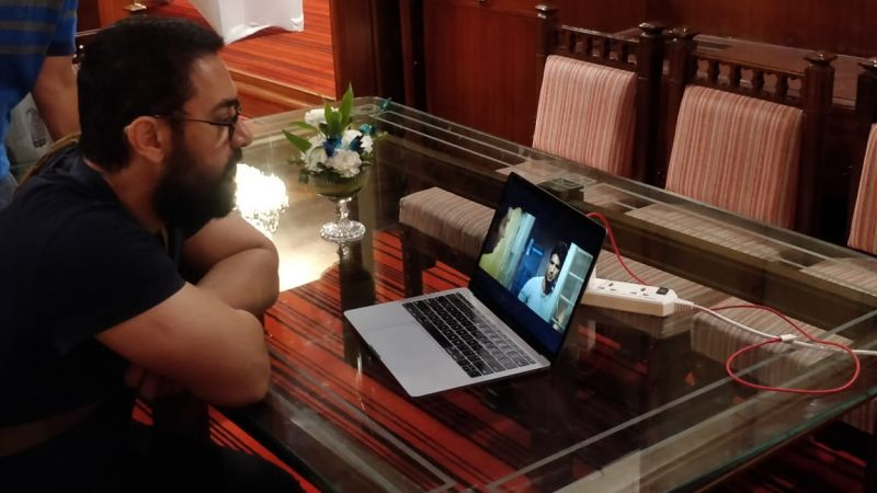 Aamir watching the trailer of Nitesh's upcoming film.