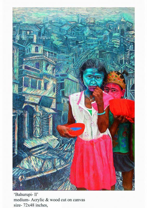 A painting of the Bahurupi artistes.