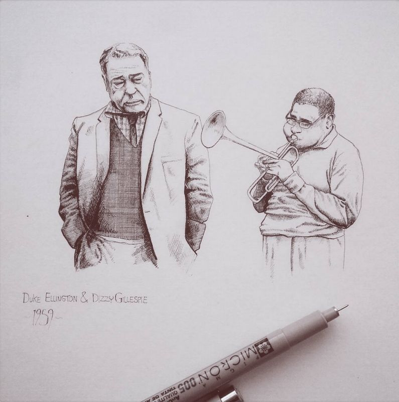 """Duke Ellington & Dizzy Gillespie, 2015  In February 1959, Duke Ellington assembled an amazing line up of top Jazz musicians for the swinging """"Jazz Party"""" album. Dizzy being one of them. In 1960 they both collaborated and released 'A Portrait of Duke Ellington'. (Illustration by Maxwell Tilse)"""