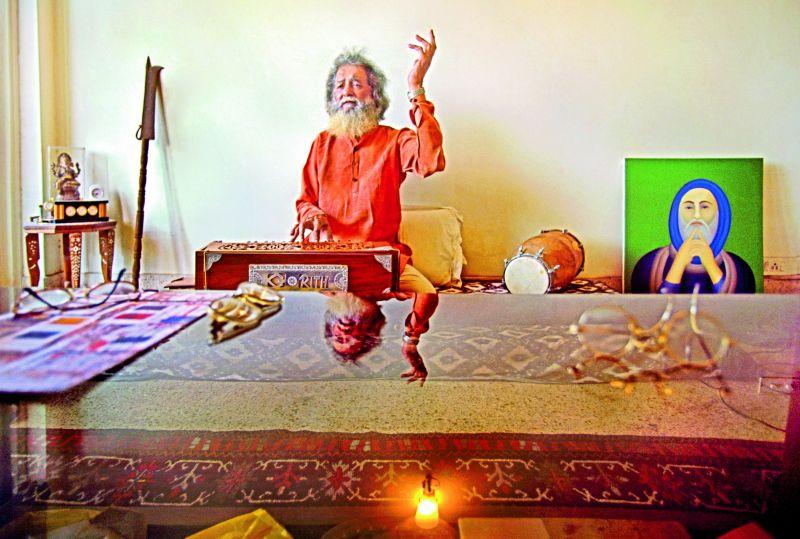 A portrait of artist Manjit Bawa in his studio in Delhi (Photographed in 2002 on film).