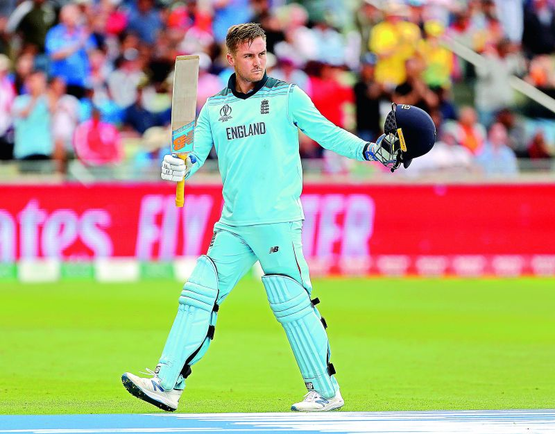 England opener Jason Roy raises his bat to acknowledge applause from the crowd as he leaves the field after scoring 85 in the semifinal against Australia at Edgbaston in Birmingham on Thursday. (Photo: AP)